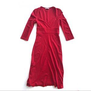 DVF Studio L.P. 3/4 Sleeve Red Midi Dress size 8